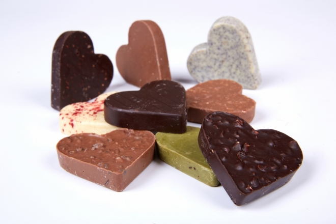Krabička čokoládových srdíček